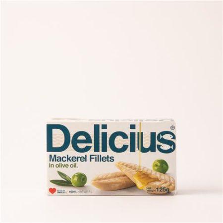 Delicius Mackerel Fillets in Olive Oil 125g