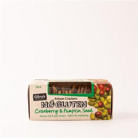Olinas Cranberry & Pumpkin Seed Cracker Gluten Free 100g