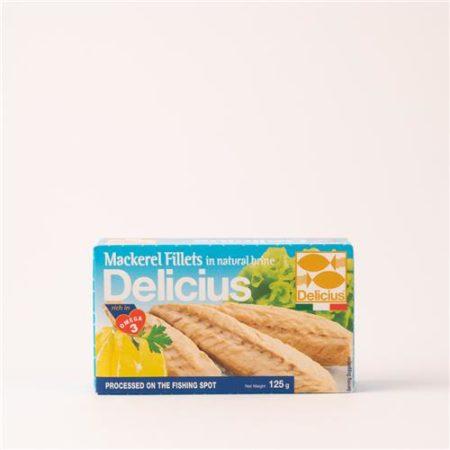 Delicius Mackerel Fillets in Natural Brine 125g